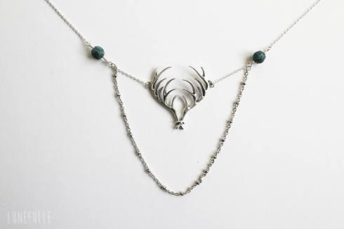 Collier bois de cerf et perles
